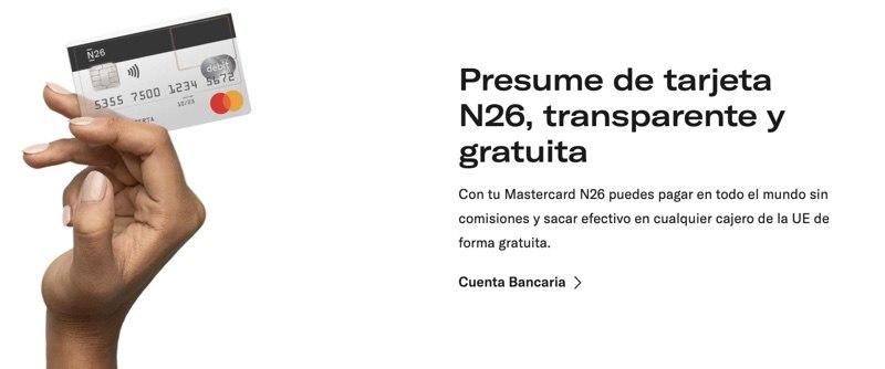 Tarjeta N26 sin comisiones